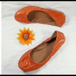 Lucky Brand snakeskin Emmie flats orange